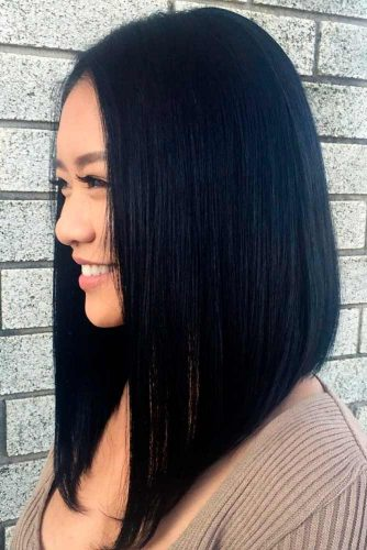 Long Length Angled Bob Hairstyles #angeledlob #lobhairstyles