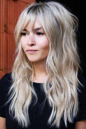 Long Wavy Blonde Shag With Bangs #longhair #wavyhair #bangs #shaggy