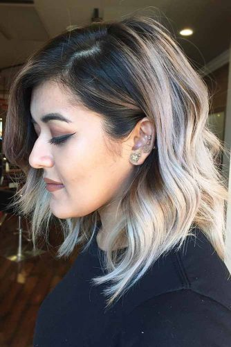 Loose Waves + Ombre Hair #wavybob #bobhaircut #ombrehair #platinumblonde