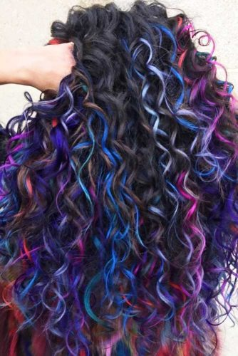 Many Colors For Long Curly Hair #longhair #curlyhair #brunette #highlights