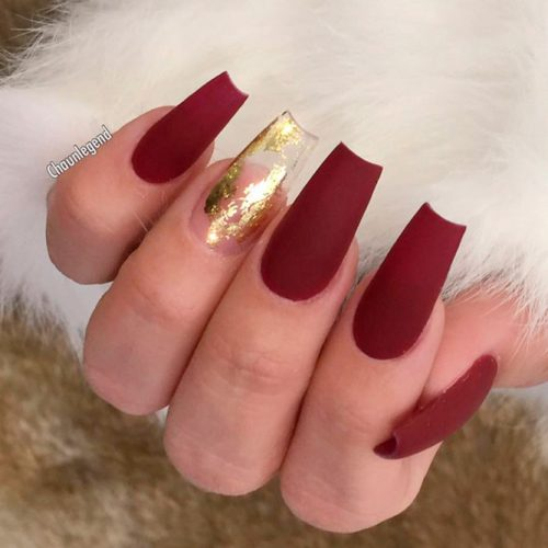 Matte Burgundy And Gold Nail Designs #longnails #burgundynails