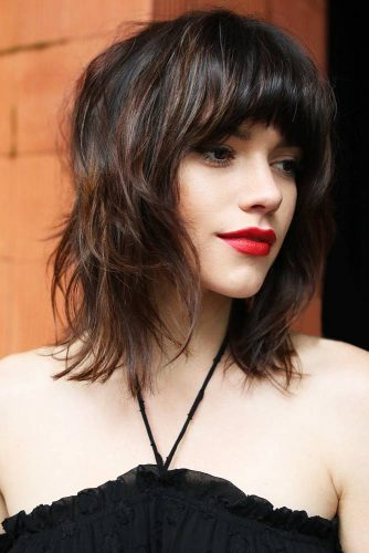 Medium Bob With Light Ends And Thick Bangs #mediumhair #bangs #shaggy
