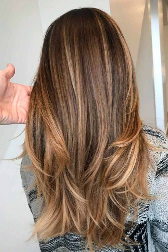 Medium Brown Color Hair With Blonde Highlights #brownhair #blondehighlights