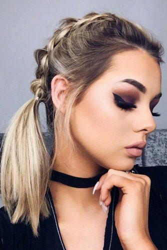 Medium Hair Length Hairstyle With Braids #shoulderlengthhair #mediumhairstyles #hairstyles #ponytail