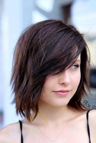 Medium Layered Bob Hairstyle With Deep Side Part #brownbob #mediumbob