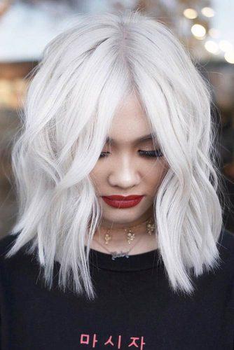 Medium Length Bob For Thick Hair #bobhaircut #platinumblonde #bleachedhair #thickhair