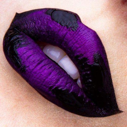 Metallic Purple Lipstick With Black Art #blackart #metalliclipstick
