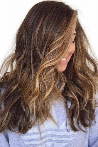 Most Delectable Caramel Highlights Hair Wavy #brunette #highlights #wavyhair #longhair