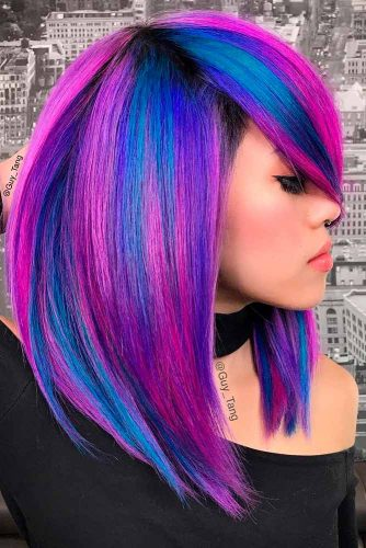 Multicolored Long A-line Bob