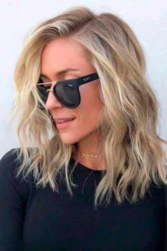 Natural Blonde Wavy Long Bob #blondehair #wavyhair