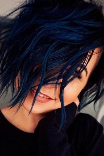 Navy Blue Layered Bob #bluehair #layeredbob