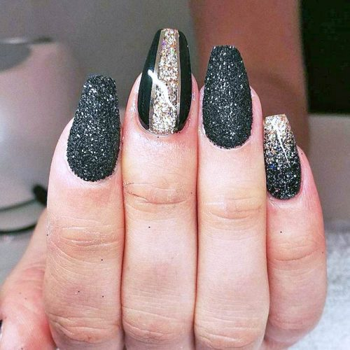 Newest Black Glitter Nails Ideas picture 5