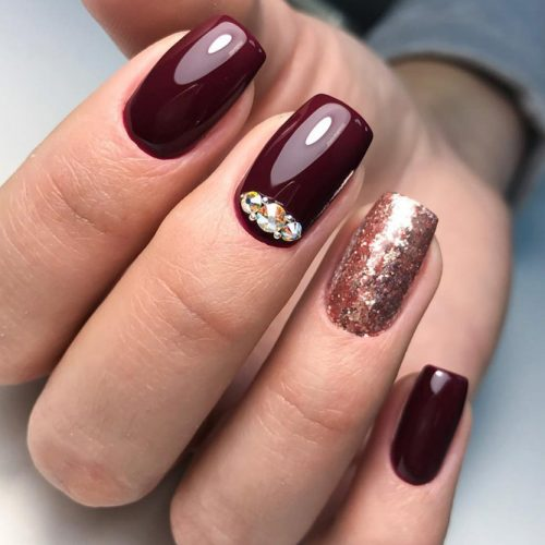 Newest Nail Designs in Burgundy Color picture 5