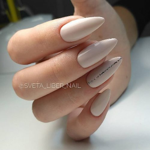 Nude Almond Nails With A Glitter Stripe #nudenails