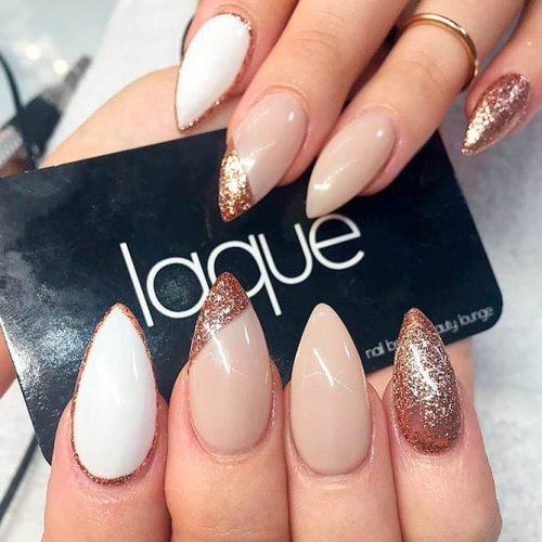 Nude And Glitter Asymmetric Nails #nudenails #glitternails