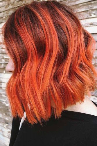Orange Ombre Hair Balayage #brunette #redhair #ombre