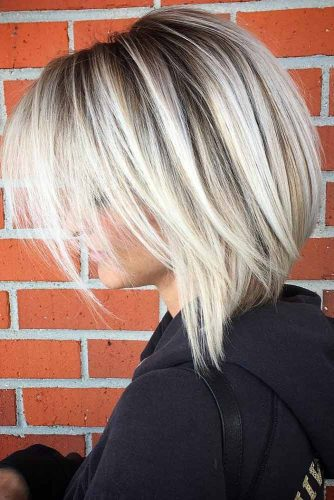 Platinum Blonde Balayage Lob Straight