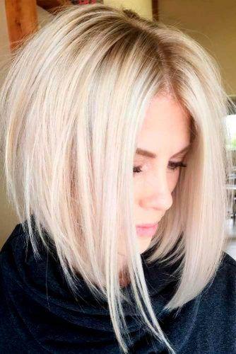 Platinum Blonde Inverted Bob Hairstyles #blondehair #invertedbob