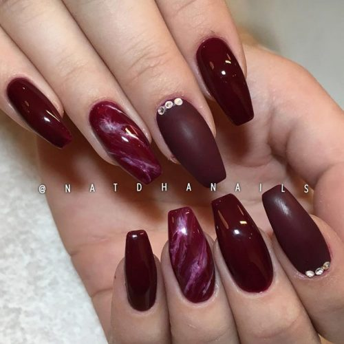 Popular Nail Designs in Burgundy Colors picture 4