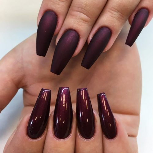 Popular Nail Designs in Burgundy Colors picture 5