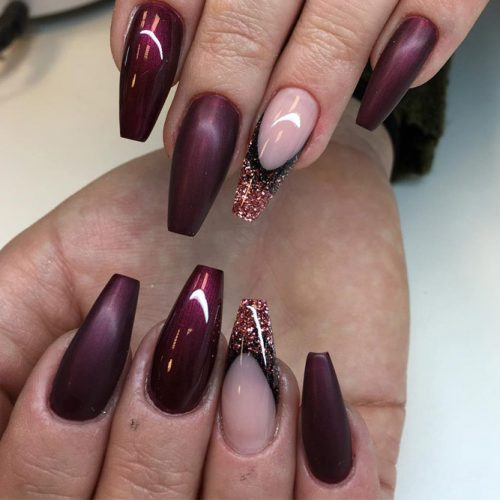 Popular Nail Designs in Burgundy Colors picture 6