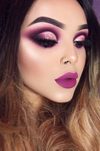 Purple Makeup Look With Cut Rease Eyes Makeup #cutcrease #mattelipstick