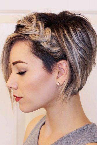 Romantic Braided Short Hairstyles Pixie-Bob #shorthairstyles #shorthair #braidedhairstyles #pixiebob #blondehighlights