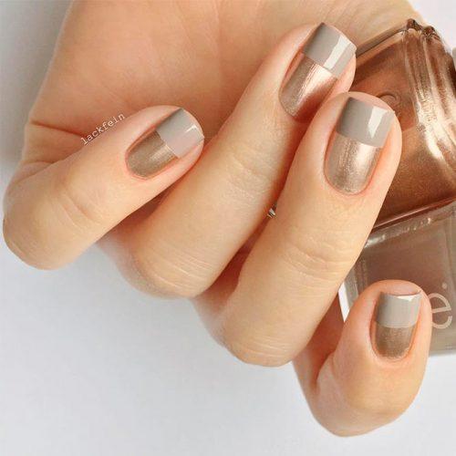 Rose Gold And Grey Short Square Nails #shortnails #rosegoldnails