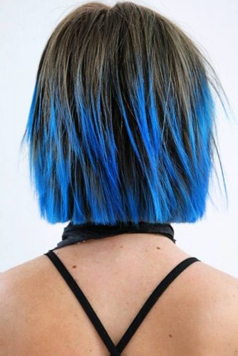 Seductive Blue Ends #shortombrehair #ombrehair #shorthair #bobhaircut #bluehair