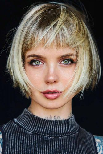 Shaggy Bob With Trimmed Front Bangs #shaggyhairstyles #blondehair #bangs