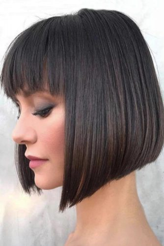 Short A-line Bob With Bang #bobhaircut #invertedbob #bobwithbang