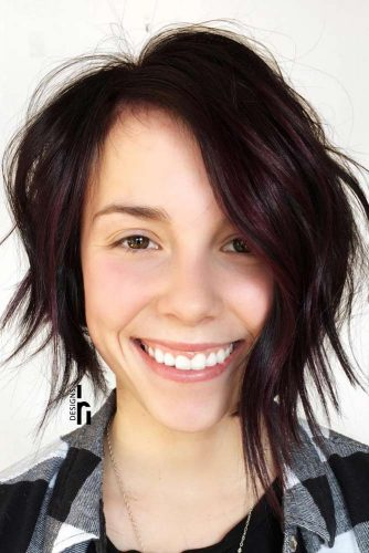 Short Asymmetrical Bob Haircut With Layers #asymmetricalbob #shortbob