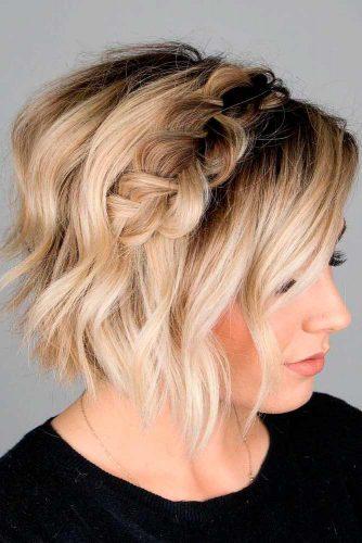 Short Blonde Half Up #braidedhairstyle #blondehair