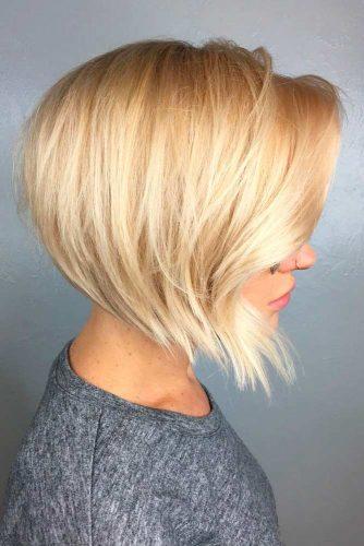 Short Choppy Inverted Blonde Bob #shorthairstyles #blondehair