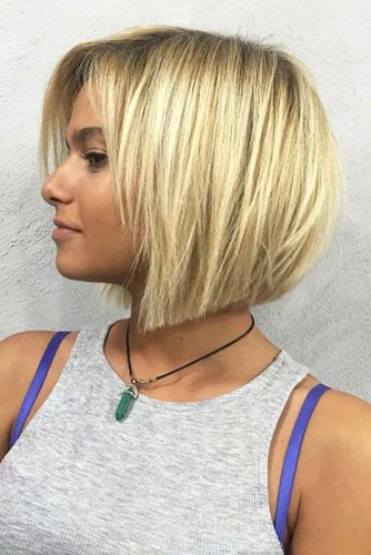 Short Layered Blonde Bob #bobhaircut #invertedbob #blondehair #shortbob