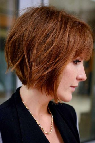 Short Layered Bob Haircut For Thin Hair #redhair #shortbob