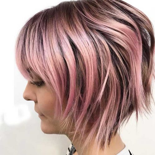 Short Layered Bob with Bangs #bobhaircut #shortbob #bobwithbangs #layeredhair #pinkhair