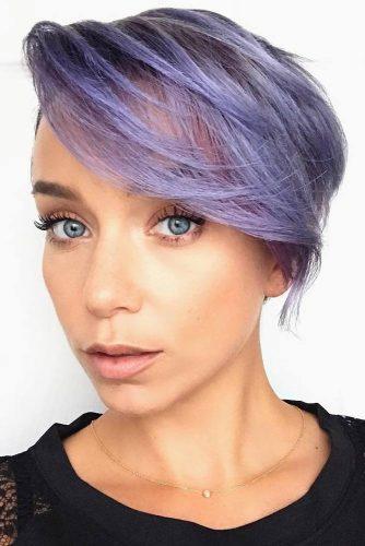 Short Layered Haircut with Purple Balayage