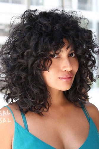 Shoulder Length Curly Hair With Bangs