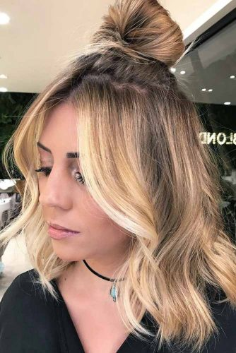 Shoulder Length Hairstyles With Top Knot picture3