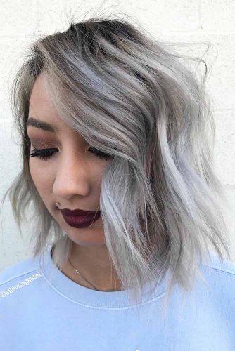 Side Swept Bangs and Bob Hairstyle #bobhaircut #sidesweptbang #silverhair #layeredhair
