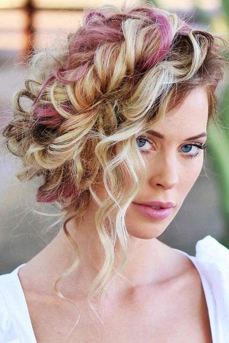 Side Swept Curly Hairstyle #braids #updo