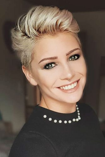 Side Swept Pixie Blonde Color #shorthair #shorthairstyles #pixiehaircut #pixiehairstyles #blondehair