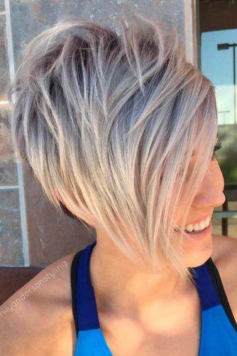 Silver Long Pixie Haircut #shorthaircuts #pixiecut #layeredpixie