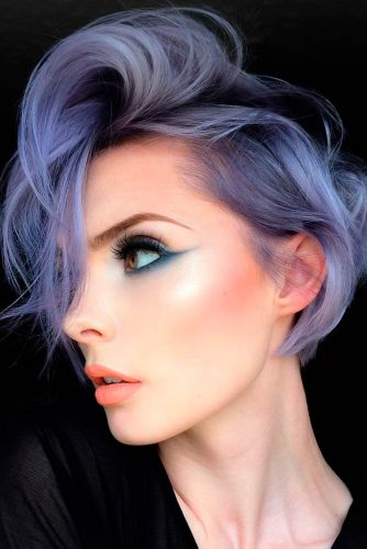 Silver Pixie with Lavender Highlights