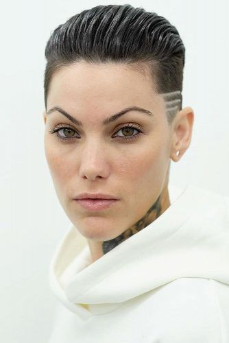 Slicked Back Pixie With Shaved Stripes #undercutpixie #pixiehaircut #undercut #haircuts