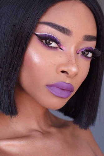 Soft Purple Lipstick With Black And White Eyeliner #blackwhiteeyeliner #mattelips