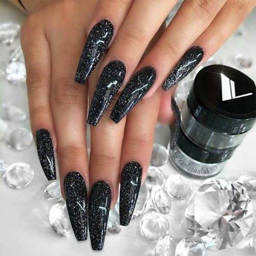 Sparkly Black Glitter Nails Picture 3
