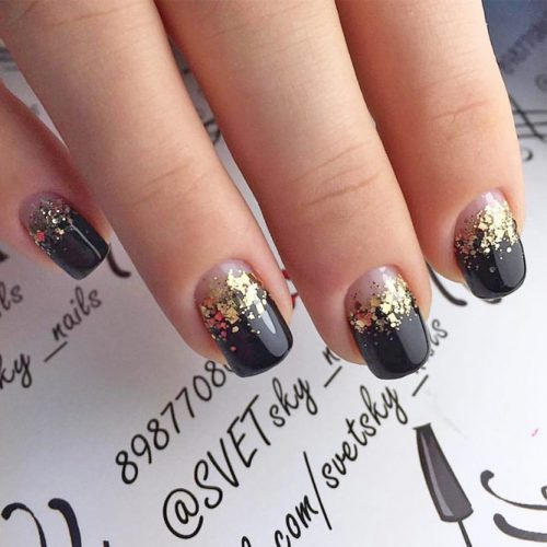 Sparkly Black Glitter Nails picture 6