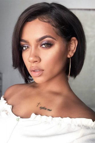 Straight Bob Hairstyles Black Color #shorthair #shorthairstyles #bobhairstyles #pixiehairstyles #blackhair